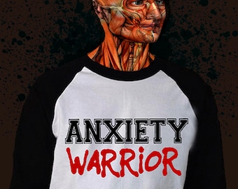 ANXIETY WARRIOR survival pack. Unisex Baseball t-shirt,embroidered patch and stickers