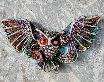 Owl Pendant, barred owl jewelry, Wiccan jewelry, animal spirit jewelry, made-to-order, polymer clay, handmade