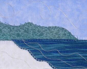 Landscape Quilted Postcard - Beach Landscape - Ocean Landscape - Fiber Art - Landscape Art - Greeting Card - Summer Vacation - Mom Gift