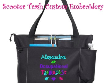 Free Shipping - Personalized Occupational Therapist Therapy Teacher Tote Bag - More Colors - monogrammed Autism