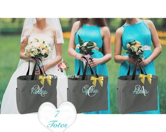 7 bridesmaid tote bags , bridesmaid gifts , bachelorette party gift , monogrammed bridal party gift