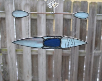kayak #9 Stained glass suncatcher hanging from silver steel chain