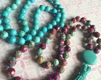 mardigras mala in turquoise howlite and purple jasper