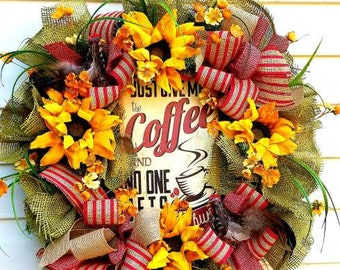 Spring summer wreaths, rooster wreaths, coffee wreaths, coffee sign, spring door wreaths, sunflower wreaths, kitchen decor, fall wreaths