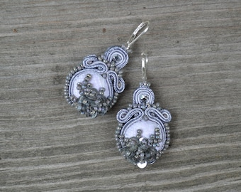Sequin embroidered Soutache earrings - Statement Earrings - Gray Soutache Earrings- 925 Sterling silver leverbacks - Sequin Earrings