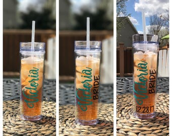 Personalized Skinny Tumblers, Bridesmaid Bridal Party Tumblers, Bridesmaid Gift, Wedding Tumblers 16oz Free Shipping