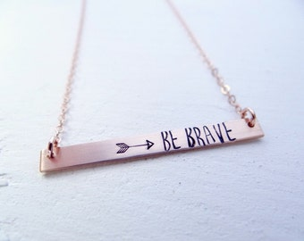 Hand Stamped Bar Necklace. Thin XL Rose GoldBar with Be Brave. Minimalist, Engraved Necklace.  Layering Bar, Be Brave, Inspirational Jewelry