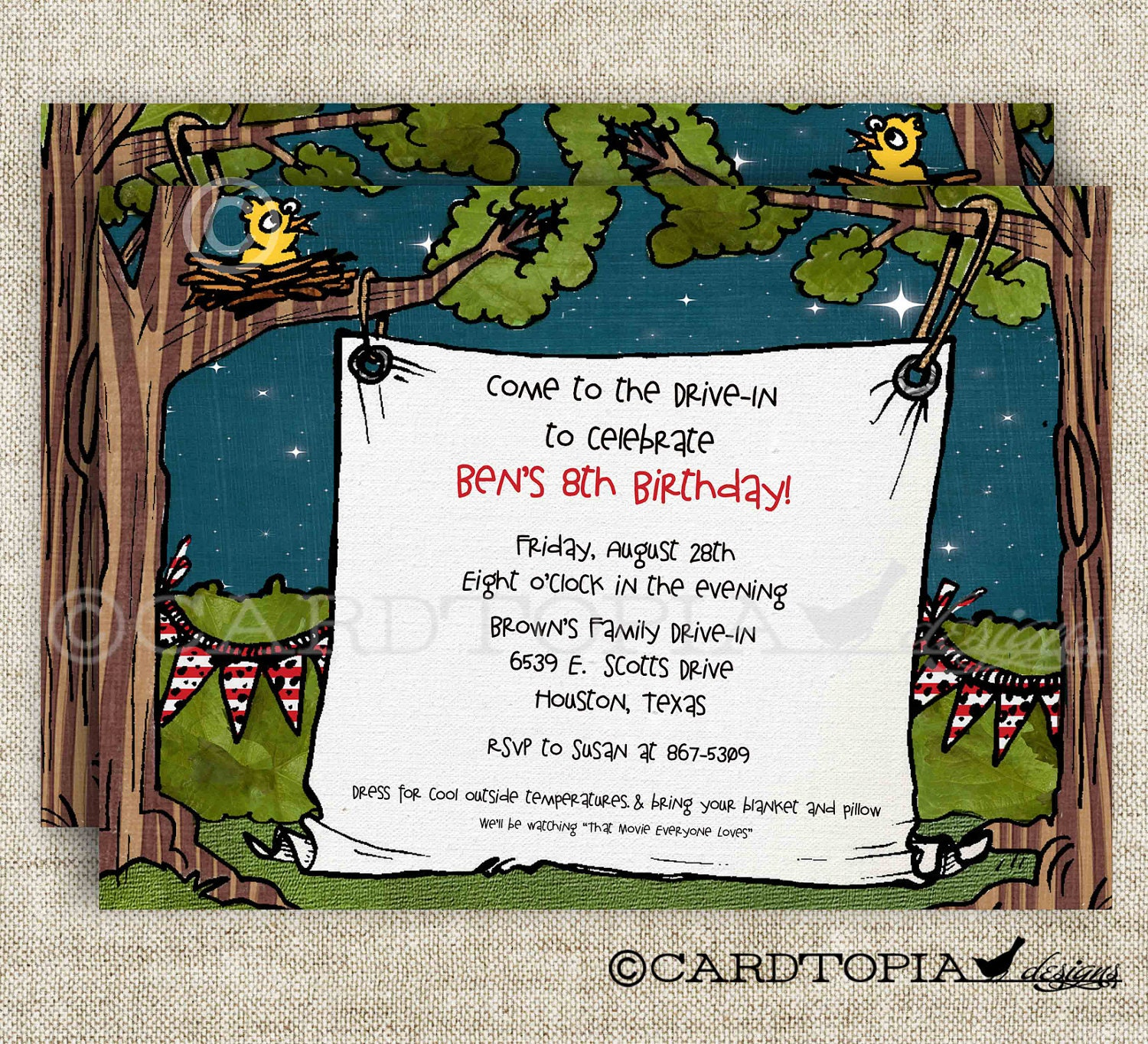 Movie Drive-In Birthday Party Invitations for Boy or Girl