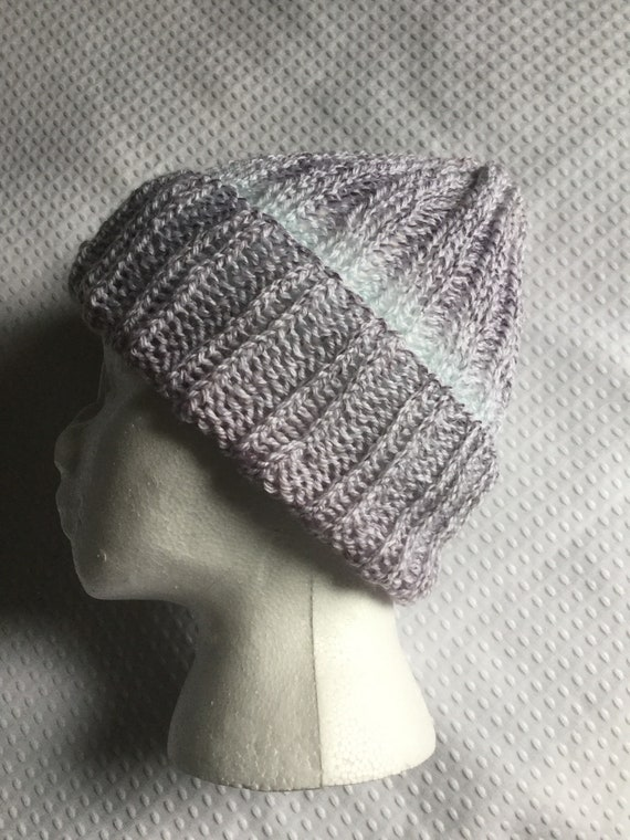 Gray and ice blue hand knit ribbed beanie light weight hat