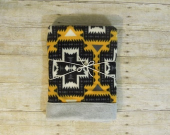 Rustic/Modern Baby Blanket Fleece | Mustard | Black | Cream |Cabin LODGE