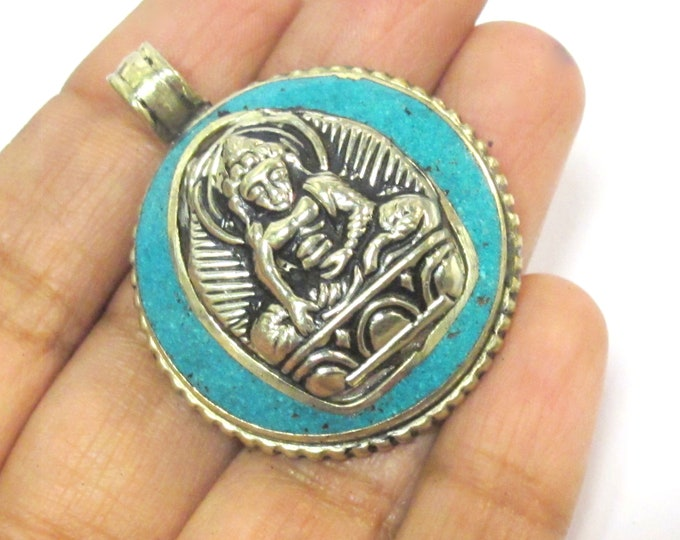 1 Pendant - Tibetan seated meditating Buddha double dorje symbol reversible pendant with turquoise inlay - PM610C