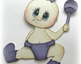 baby girl with rattle choose colors premade paper piecing 3d die cut by my tear bears kira