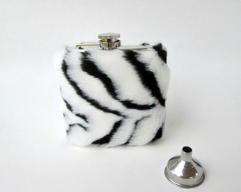 21st Birthday Gift for Her, Unique Flask for Women, Zebra Print Liquor Flask Womens Flask Funnel INCLUDING FLASK, Faux Fur, Bridesmaid