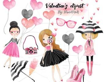Valentines girls, Valentine's clipart,valentine day clipart Instant Download PNG file - 300 dpi