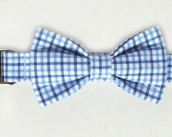 Preppy Blue Plaid Dog Collar Bow Tie set with metal hardware, pet bow tie, collar bow tie, wedding bow tie, pet photography