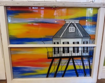 Light House Painting, Sunset Painting, Repurposed Window, Painted Window, Beach House Decor, Middle Bay Light House, Hand Painted Window