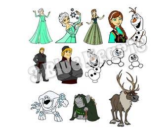 Frozen Svg studio dxf pdf jpg png