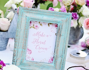 "Tea Party Par-TEA Floral ""Make a Floral Crown"" 5x7 Instant Download PDF Printable Digital Sign Baby Shower, Bridal, Birthday, Flower Wreath"
