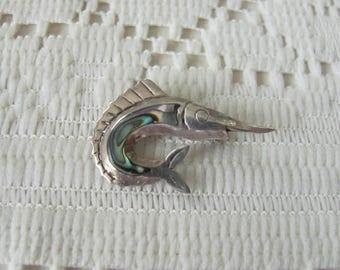 Abalone Marlin Brooch, Vintage Swordfish Pin, Taxco Sterling Silver, Mexico Silver, Marlin Fishing