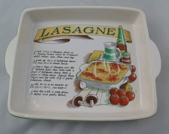 Vintage Quiche / Pie Dish from Rayware with Recipe for Lasagne