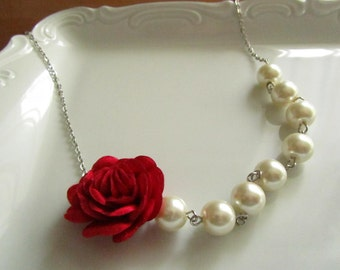 Wedding jewelry, wedding jewelry for brides, ivory pearl necklace, pearl bridal, jewelry for bridemaids, red fabric, red fabric flowers