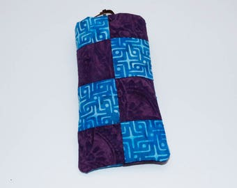 Quilted Patchwork Blue and Purple Batik Eye glasses case