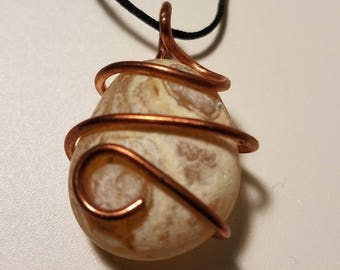 Agate necklace that is wire-wrapped with copper wire