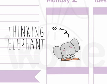 Cute Elephant Thinking Planner Stickers, baby elephant Stickers for planner - kawaii elephant sticker sheet