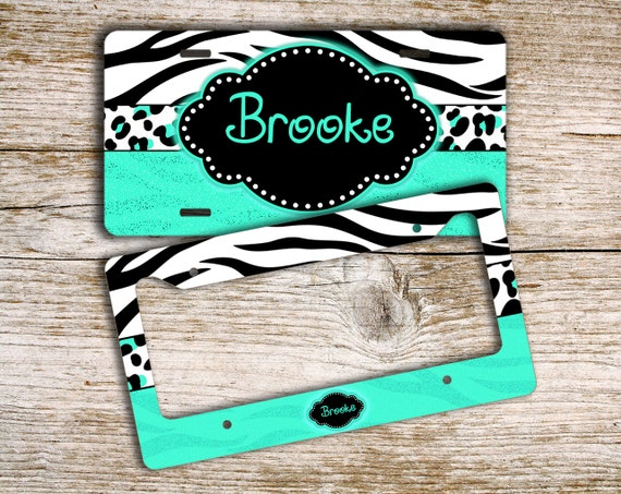 Cute Girly Monogrammed License Plate Or Frame Tiger Stripe