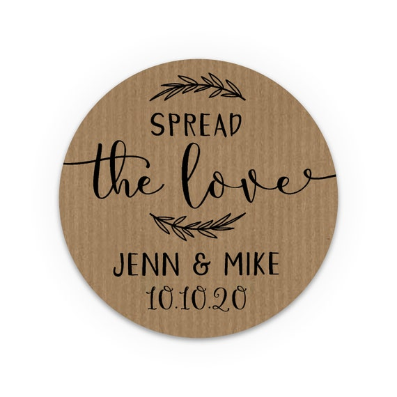 Personalised gift, Honey jar wedding favors stickers, Spread the love jam labels, Wedding Favour Stickers, Custom stickers for party favors