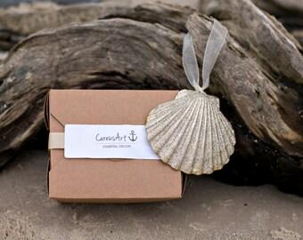 Beach Christmas Ornament - Beach Decor Gold Glitter Scallop Seashell Holiday Ornament -  Nautical Ornament