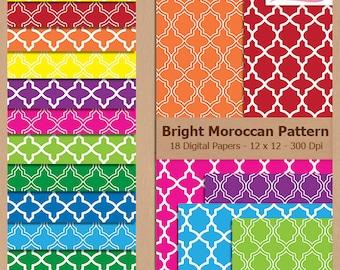 Digital Scrapbook Paper Pack - BRIGHT MOROCCAN PATTERN - Instant Download