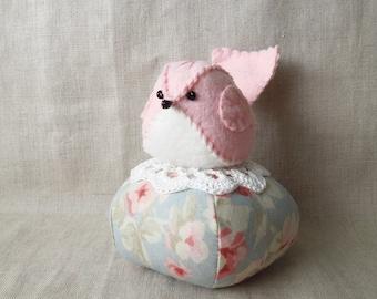 Pastel Pink Felt Bird Blue Floral Pincushion Tuffet
