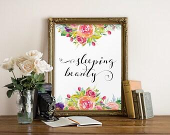 Nursery print, Instant download, Nursery wall art girl printable, Baby girl nursery decor, Digital print Printable art Sleeping beauty BD887