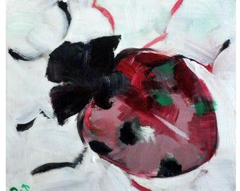 Mini Ladybug Acrylic Painting