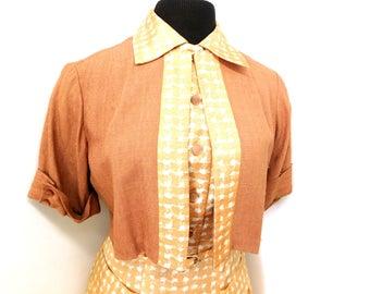 Vintage 40s Dress Jacket Bolero Shrug Top 2 Piece Outfit Pleated Full Skirt Cap Sleeves Checkers Terra Cotta Belt WW11 XS Small 0 2 4