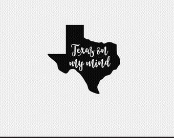 texas on my mind svg dxf jpeg png file stencil monogram frame silhouette cameo cricut clip art commercial use