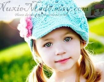 Casquette turquoise avec des fleurs, casquette Gavroche bleu au Crochet, chapeau les filles avec bord, Gavroche chapeau au Crochet, chapeau pour les tout-petits, les filles de 12-24 mois