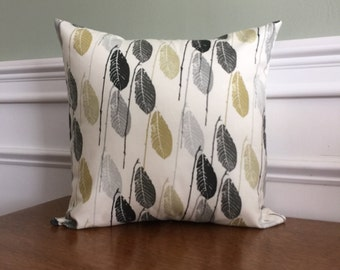 Throw Pillow Cover- Pillow Sham - Decorative Pillow - Feather Print - Designer Cotton Fabric - 14 16 18 inch - Gray Black Green feathers