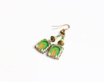 Puertas indias verdes y doradas (Pendientes)