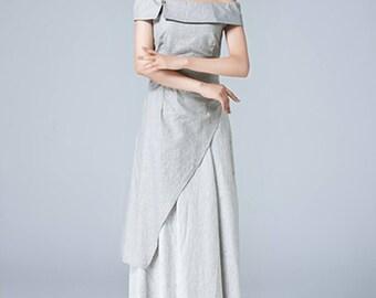 gray dress, linen dress, off shoulder dress, romantic dress, maxi dress, ladies dresses, party dress, layered dress, handmade dress  1778