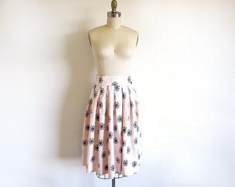 Vintage Mid Century Cotton  50s Print Skirt
