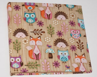 Baby photo album photo album fabric with fabric owls related Hedgehog Fuchs owls hedgehog fox 30 x 30 cm
