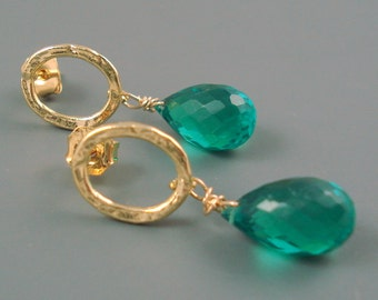 Emerald Green Quartz Briolettes and Gold Plate OOAK ON SALE were 49.00