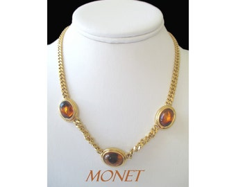 Tiger Eye Necklace * Vintage MONET