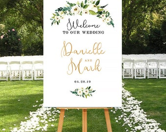 Floral Wedding Welcome Sign, White Flowers Wedding Sign, Printable Welcome Sign, Wedding Welcome Sign White Gold, DIGITAL Welcome Sign