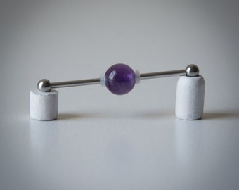 Industrial Barbell with Amethyst Bead - Industrial bar earring - Unique Body Jewelry - 14g