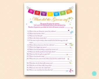Fiesta Bridal Shower Games, What did the Groom Say, What did he say about her, Newlywed Game, Bridal Shower Game, Games Download BS136