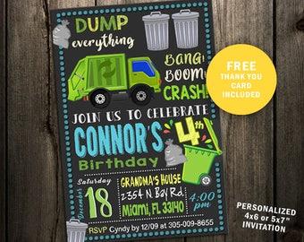 Garbage truck invite etsy filmwisefo