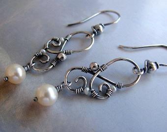 Sterling Silver Earrings, Pearl Dangle Earrings, Handmade Silver Jewelry, Wire Wrapped Silver Earrings